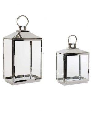 Lanterne verre et acier chromé - Carré SET 2