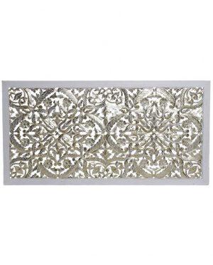 Tête de lit bois sculpté blanc doré- cadre blanc (1)