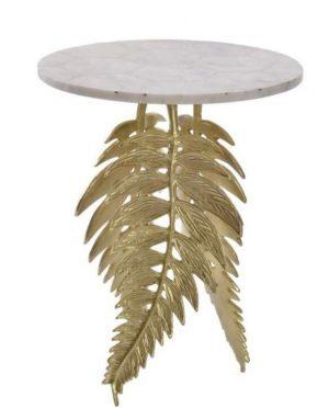 table chevet appoint doré marbre feuille