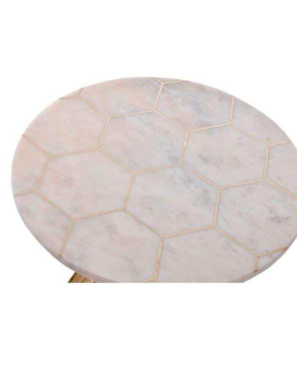 table chevet appoint marbre doré feuille
