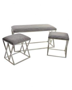 Ensemble bout de lit métal gris - 2 assises - métal chromé