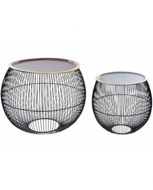 Table basse métal noir sphère avec plateau - set 2