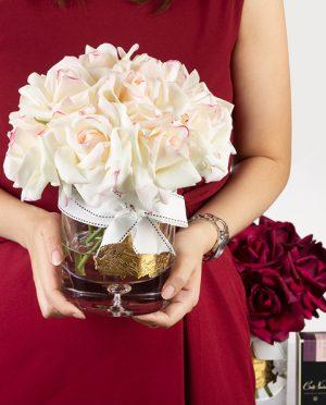 Rose poudré côte noir 12 roses