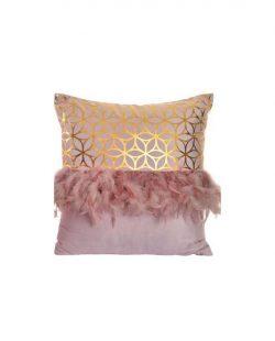 Coussin coton 45x45 plumes doré Modèle 1 (Motif rosas)