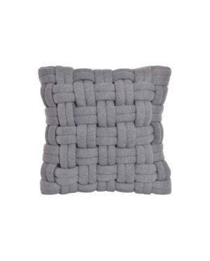 Coussin décoratif tressé gris
