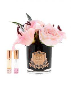 Lys & Roses Blush parfurmées - Contenant Vase verre - Paquet cadeaux