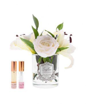 Lys & Roses ivoire parfumées - Contenant Vase verre - Paquet cadeaux