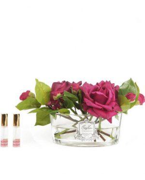 Roses rouge parfumées - Contenant Vase en verre oval - Coffret noir et argent