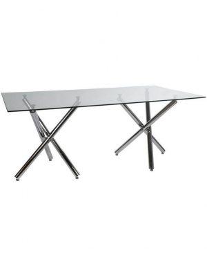 Table à manger design verre double pieds chromés 180x90x75 (5)