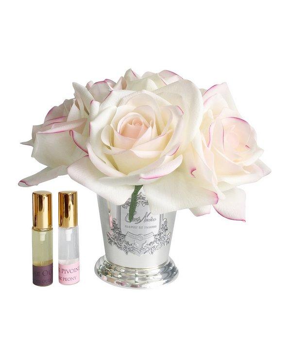 7 Roses Pink Blush parfumées avec Vase argenté – Coffret décoratif rose poudré