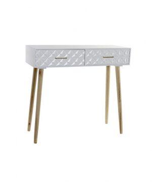 Console géométrique blanc suédois 80x30x74