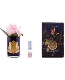 Roses Bud parfumées - Contenant Vase verre noir