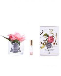 Roses Françaises Cherry Blossom parfurmées- Contenant Vase verre