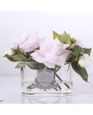 Roses Françaises Pink parfumées - Contenant Vase en verre - Coffret décoratif noir et argent (1)