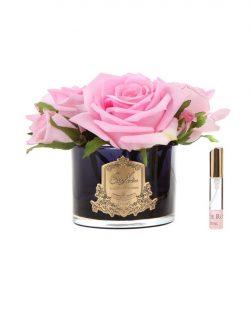 Roses Françaises Pink parfumées - Contenant Vase en verre noir- Paquet cadeaux