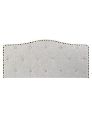 Tête de lit bois clouté, capitonné beige (1)