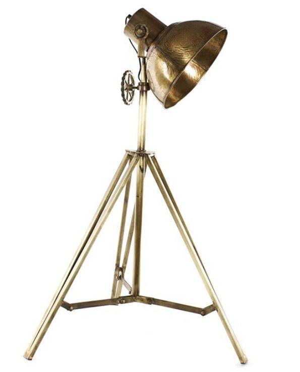 lampadaire tripod studio doré