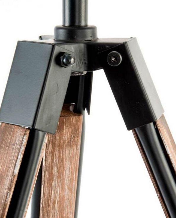 Lampadaire tripod industriel bois 2