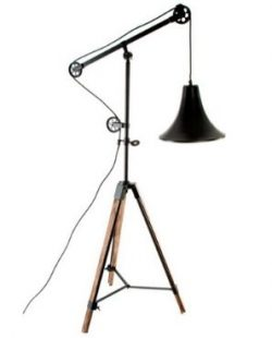 Lampadaire tripod industriel bois