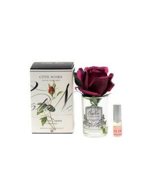 Roses Carmin Red parfumées - Contenant Vase Verre et Argent