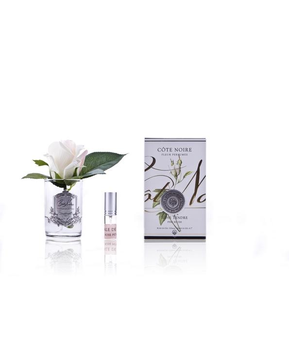 Roses Pink Blush parfumées – Contenant Vase Verre et Argent (2)